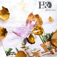 Crystal Butterfly Cone Base Glass Figurine Paperweight Ornament Home Decor Gift