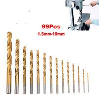 99pc Titanium Coated HSS Twist Drill Bits 1.5mm-10mm High Speed Steel Metric Set