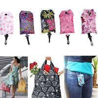 Reusable Foldable Ladies Shopping Bag Eco Tote Handbag Fold Away Bag Keychain