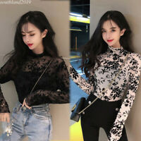 Korean Women Stretch Slim Fit Turtleneck Mesh T Shirt Autumn Top Blouse Pullover