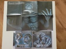 IRON MAIDEN DIFFERENT WORLD CD & DVD SINGLE SET COMPLETE WITH CALENDAR POSTER.