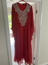 Red Abaya Pakistani Arab Indian Dress Designer Wedding Party Indian Eid