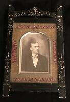 Antique Victorian Eastlake Black Ebony Lacquer Picture Frame Portrait Photo Man