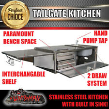 STAINLESS STEEL CAMPER TRAILER CARAVAN TAILGATE KITCHEN. RHS SINK