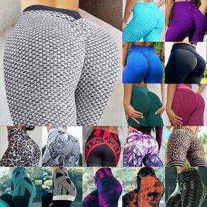 Womens Anti-Cellulite Yoga Pants Push Up Leggings Honeycomb Scrunch Gym Trousers