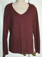 Hot Cotton Women's Maroon V-Neck Long Sleeve T-Shirt Size L