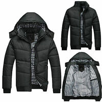 US Mens Black Puffer Jacket Warm Overcoat Outwear Padded Hooded Down Winter Coat