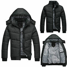 Mens Slim Jacket Warm Thick Hoodie Hooded Cotton Down Coat Parka Winter Outwear