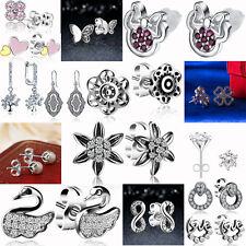 S925 Sterling Silver Ear Studs CZ Cubic Zircon Earring for Female Wedding Partya