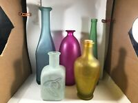 Lot of 5 European Colored Glass Bottle Decanters