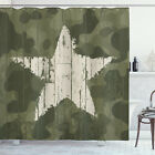 Camouflage Shower Curtain Grunge Star on Green Print for Bathroom