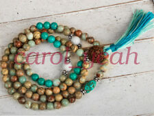 Natural turquoise chakra energy mala bracelet pendant necklace tassel yoga 8MM