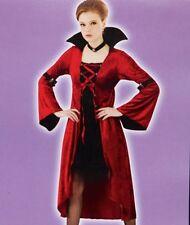 New Womens VAMPIRA One Size Velvet Dress Hi-Low Vampire Costume Halloween Gown