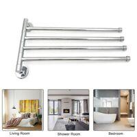 Bathroom Stainless Steel Towel Rail Rack Holder 4 Swivel Bar Wall Hanger Shelf