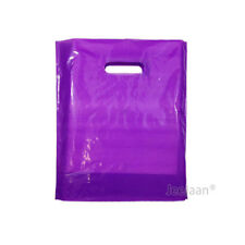 """100 Silver Plastic Carrier Bags 10/""""x12/""""+4/"""" Strong Patch Handle Gift Retail"""