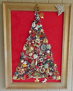 Vintage Jewelry Art Christmas Tree, Truly one of a kind!