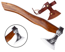 MDM CUSTOM BEARD TOMAHAWK VIKING WOLF FACE ETCHED HATCHET AXE HUNTING TOOL AXE