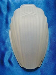 Vintage Glass Light Cover Art Deco Wall Sconce Slip Shade Frosted Satin Glass