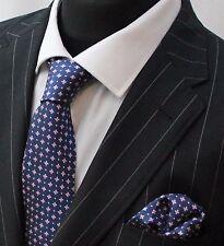 Tie Cravatta Con Fazzoletto Blu scuro & Rosa