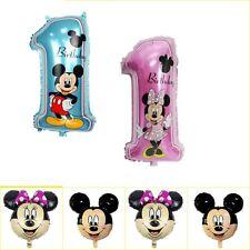 "32"" Disney 1st Birthday Number 1 Boy Girl Foil Mickey Minnie Mouse baloon"