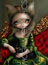 FANTASY ART PRINT Princess with a Black Cat Jasmine Becket Griffith