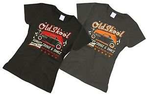 50s Rockabilly Retro Hot Rat Rod Ladies T Shirt Vintage Car Tattoo Tee OldSkool