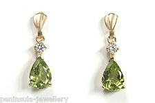 9ct Gold Peridot and CZ Drop earrings Gift Boxed Made in UK