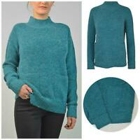 Ex Papaya Womens Teal Turquoise Chunky Rib Knit Boxy Jumper Turtle Neck