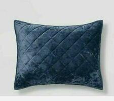 ONE Threshold Navy Blue Diamond Stitch KING Velvet Pillow Sham 20X36~ New