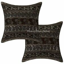 Handmade Indian Cushion Covers Zari Embroidered Sequins Cotton Pillow Cases 16""
