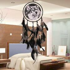 Black Feather Bead Wolf Dream Catcher Wall Hanging Home Car Decor Dreamcatcher