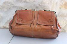 Vintage - Ancien sac à main cuir marron  - Sacoche médecin