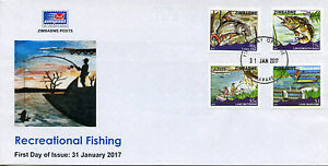 Zimbabwe 2017 FDC Fishing 4v Set Cover Fish Fishes Lakes Mutirikwi Mayame Stamps
