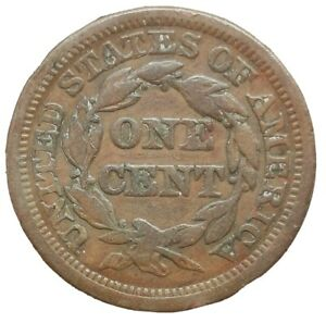 USA 1845 Liberty Head Cent Braided Hair Fine Copper Coin 10.85gms