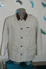 jolie veste coton lin ecru col en cuir MARLBORO CLASSICS taille large