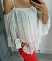 Zara white colour long sleeve off shoulder top size XS
