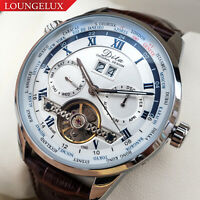 NEW Mens Flywheel Leather Luxury Skeleton Automatic Mechanical World Time Watch