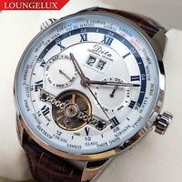 Mens Flywheel Multi Time Zone Open Heart Skeleton Automatic Mechanical Watch
