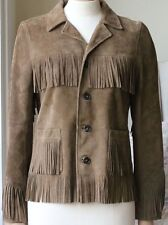 SAINT LAURENT CLASSIC CURTIS BROWN FRINGE JACKET FR 36 UK 8