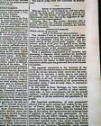 President ANDREW JACKSON Annual State of the Union Address 1831 Old Newspaper