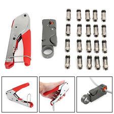 Coaxial Crimping Crimper + RG6 Crimp Connectors Cutter Tool Tool B2