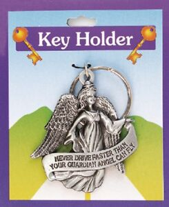 Guardian Angel Key Ring Holder 'Never Drive Faster Than Your Angel Can Fly'