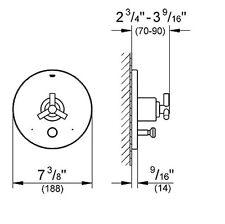 GROHE 19491EN0 Atrio 1-Handle Grohsafe Pressure Balance Diverter Valve Trim Kit
