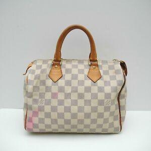 LOUIS VUITTON Speedy 25 Handbag Damier Azur Canvas Beige Bag