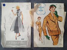 2 Patrons mode anciens Le Patron de Paris vers 1950  tailleur veste robe - 2