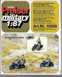 Preiser WWII Allemand BMW R12 Moto & Ras (4 Figurines/3 Cycles) 1/87 16598 St