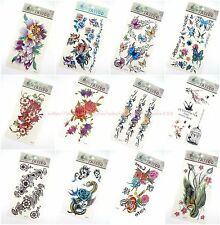 12 sheets temporary tattoo rose flower butterfly body sticker wholesale