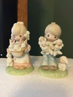 Home Interiors #1444 Children with lambs and bunnies Figurines Vintage