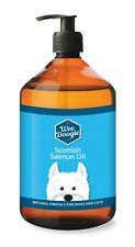 1Litre 1000ml Pure, 100% Natural Salmon oil for dogs & Pets with pump