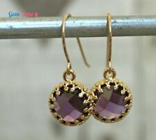 Dark Purple CZ Cubic Zirconia Dangle Drop Earrings Gemstone Gold Filled Jewelry